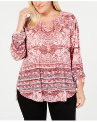 Style & Co. - Plus Size Mixed-print Burnout Peasant Top, Created For Macy's - Lyst