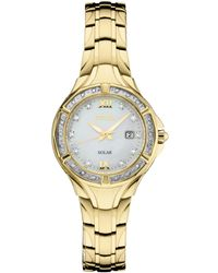 2754e160bef Seiko - Solar Diamond Collection Diamond-accent Gold-tone Stainless Steel  Bracelet Watch 29mm
