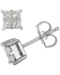 Macy's - Diamond Quad Cluster Stud Earrings (1/2 Ct. T.w.) In 14k White Gold - Lyst