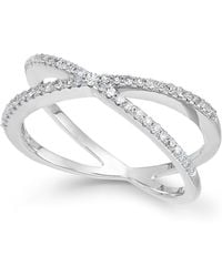 Wrapped in Love - Diamond Crossover Ring In 10k White Gold (1/4 Ct. T.w.) - Lyst