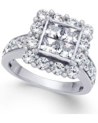 Macy's - Diamond Square Cluster Halo Ring (3 Ct. T.w.) In 14k White Gold - Lyst