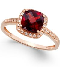 Macy's - Garnet (2-1/4 Ct. T.w.) And Diamond Accent Ring In 14k Rose Gold - Lyst