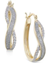 Macy's - Diamond Glitter Infinity Hoop Earrings (1/6 Ct. T.w.) In 18k Gold-plated Sterling Silver - Lyst