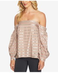 1.STATE - Metallic Striped Off-the-shoulder Top - Lyst