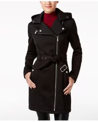 BCBGeneration Hooded Chevron Asymmetrical Coat