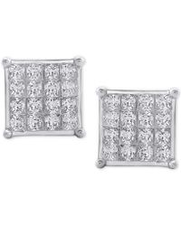 Macy's - Diamond Square Cluster Stud Earrings (3/4 Ct. T.w.) In 10k White Gold - Lyst