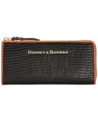 Dooney & Bourke - Continental Embossed Leather Zip Clutch Wallet - Lyst