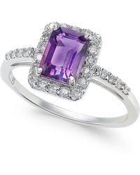 Macy's - Amethyst (1 Ct. T.w.) & Diamond (1/4 Ct. T.w.) Ring In 14k White Gold - Lyst