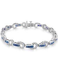 Macy's - Certified Ruby (3 Ct. T.w.) And Diamond (5/8 Ct. T.w.) Swirl Link Bracelet In 14k White Gold - Lyst