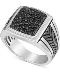 Macy's - Black Sapphire Ring (1-1/4 Ct. T.w.) In Sterling Silver & Black Rhodium-plate - Lyst