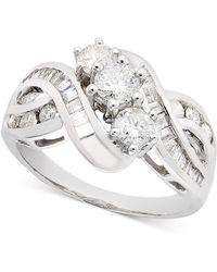 Macy's - Three-stone Diamond Braid Ring In 14k Gold (1 Ct. T.w.) - Lyst