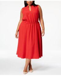 Anne Klein - Plus Size Split-neck Flared Midi Dress - Lyst