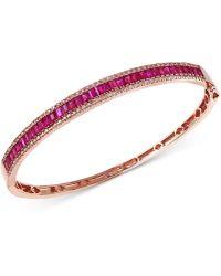 Effy Collection - Ruby (3-1/2 Ct. T.w.) And Diamond (1/2 Ct. T.w.) Bangle Bracelet In 14k Rose Gold - Lyst