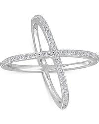 Macy's   Diamond X Ring (1/3 Ct. T.w.) In Sterling Silver   Lyst
