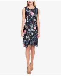 Tommy Hilfiger - Floral-printed Asymmetrical-hem Sheath Dress - Lyst