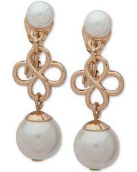 Anne Klein - Gold-tone Imitation Pearl Clip-on Drop Earrings - Lyst