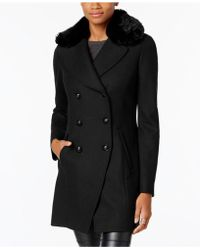INC International Concepts - Faux-fur-trim Peacoat - Lyst