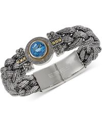Effy Collection - Blue Topaz (4 Ct. T.w.) And Diamond (1/5 Ct. T.w.) Braided Tennis Bracelet In Sterling Silver And 18k Gold - Lyst