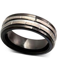 Macy's - Men's Tungsten Ring, Black Ceramic Tungsten Design Ring - Lyst