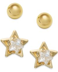 Macy's - 10k Gold Earrings Set, Cubic Zirconia Accent Star And Ball Stud Earrings - Lyst