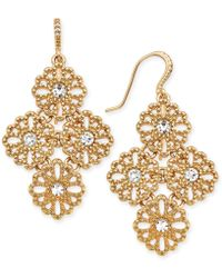 Charter Club - Gold-tone Crystal Filigree Drop Earrings - Lyst