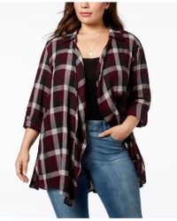 Style & Co. - Plus Size Cotton Plaid Peplum-hem Cardigan, Created For Macy's - Lyst