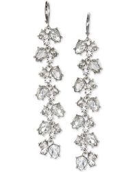 Badgley Mischka - Crystal Leaf Linear Drop Earrings - Lyst