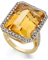 Macy's - 14k Gold Ring, Citrine (22 Ct. T.w.) And Diamond (1/2 Ct. T.w.) Rectangle Ring - Lyst