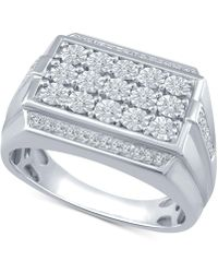 Macy's - Men's Diamond Cluster Ring (1/3 Ct. T.w.) In Sterling Silver - Lyst