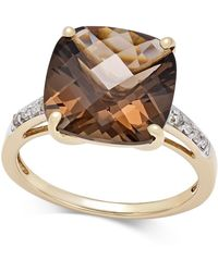 Macy's - Smoky Quartz (6-1/2 Ct. T.w.) And Diamond Accent Ring In 14k Gold - Lyst