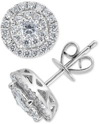 Macy's - Diamond Double Halo Stud Earrings (1 Ct. T.w.) In 14k White Gold - Lyst