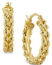 Macy's - Heart Rope Chain Hoop Earrings In 14k Gold - Lyst