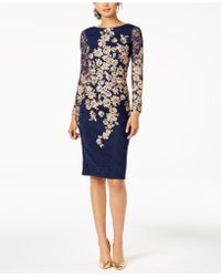 Xscape - Floral-embroidered Lace Dress - Lyst