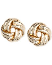 Anne Klein - Gold-tone Knot Stud Earrings - Lyst