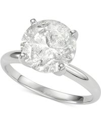 Macy's - Diamond Solitaire Engagement Ring (4 Ct. T.w.) In 14k White Gold - Lyst