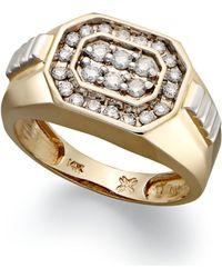 Macy's - Men's Diamond Rectangle Ring In 14k Gold (1/2 Ct. T.w.) - Lyst
