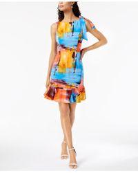 Donna Ricco - Watercolor Flounce Dress - Lyst