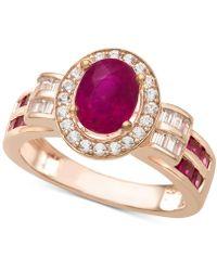 Macy's - Certified Ruby (1-1/2 Ct. T.w.) & Diamond (3/8 Ct. T.w.) Ring In 14k Rose Gold - Lyst