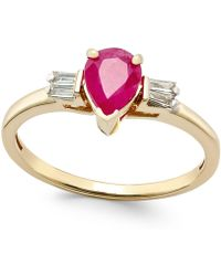 Macy's - Ruby (3/4 Ct. T.w.) And Diamond (1/8 Ct. T.w.) Ring In 14k Gold - Lyst