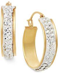 Macy's - Crystal Hoop Earrings In 10k Gold - Lyst