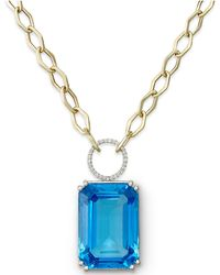 Macy's | 14k Gold Necklace, Blue Topaz (70 Ct. T.w.) And Diamond (1/4 Ct. T.w.) Pendant | Lyst