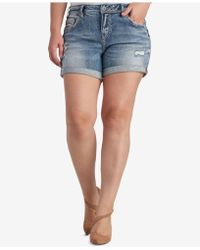Silver Jeans Co. - Trendy Plus Size Ripped Denim Shorts - Lyst
