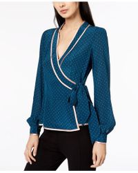 Nanette Lepore - Silk Printed Wrap Blouse, Created For Macy's - Lyst