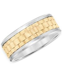 Macy's - Two-tone Comfort Fit Band In Tungsten Carbide - Lyst