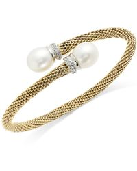 Macy's - Cultured Freshwater Pearl Mesh Cuff Bracelet In 14k Gold Over Sterling Silver (10mm) - Lyst