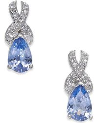 Macy's - Tanzanite (3/4 Ct. T.w.) & Diamond (1/8 Ct. T.w.) Drop Earrings In 14k White Gold - Lyst