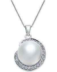 Macy's - Cultured South Sea Pearl (11mm) And Diamond (1/3 Ct. T.w.) Pendant Necklace In 14k White Gold - Lyst