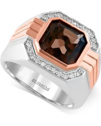 Effy Collection - Gento By Effy Smoky Quartz (3-7/8 Ct. T.w.) And Diamond (1/6 Ct. T.w.) Ring In 14k Rose And White Gold - Lyst