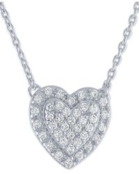 "Macy's - Diamond Pavé Heart Pendant Necklace (1/5 Ct. T.w.) In Sterling Silver, 16"" + 2"" Extender - Lyst"