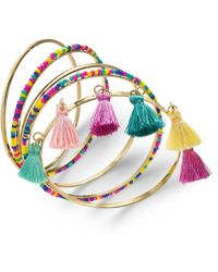 INC International Concepts - I.n.c. Gold-tone 5 Pc. Set Polished, Wrapped & Tassel Bangle Bracelets, Created For Macy's - Lyst